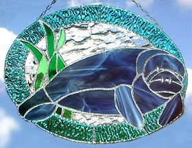 Manatee Stained Glass Suncatcher - Nautical Design