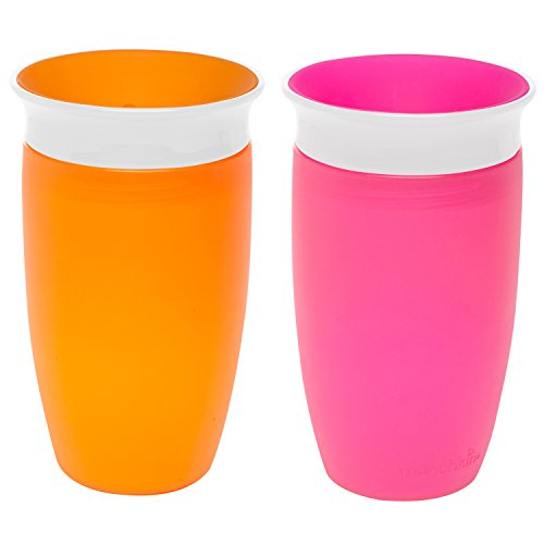 Munchkin Miracle 360 Sippy Cup, Pink/Orange, 10 Ounce, 2 Count (Training The Omega compare prices)