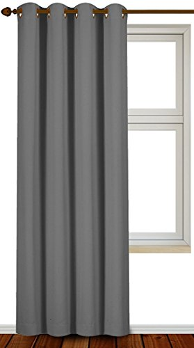 Blackout Room Darkening Curtains Window Panel Drapes - Grey Color 1 Panel, 52 inch wide by 84 inch long each panel, 8 Grommets Rings per panel, 1 Tie Back included - by Utopia Bedding (One Panel Grey Curtains compare prices)