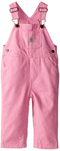 Carhartt Baby-Girls Infant Washed Microsanded Canvas Bib Overall, Rosebloom, 18 Months front-1004599