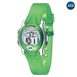 Cute Digital Sport Waterproof Wrist Watch with Alarm Stopwatch for Kids Boys Girls (Green)