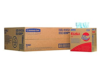 """Kimberly-Clark WypAll 41412 Disposable X70 Wiper, 9.1"""" Width x 16.8"""" Length, Blue (10 Boxes of 100)"""