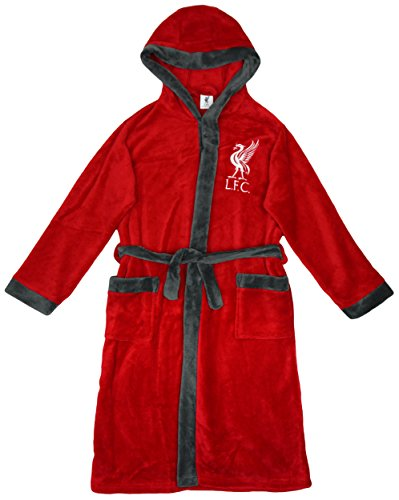 Boys Official Liverpool FC LFC Hooded Fleece Dressing Gown Robe ...