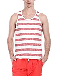 Zobello Men's Jacquard Yarn Dye Stripe Knit Tank