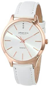 Johan Eric Women's JE2200-09-001 Herlev Rose Gold Case and White Leather Watch with Diamond Accents