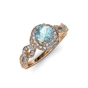 Aquamarine and Diamond (SI2-I1,G-H) Twisted Halo Engagement Ring 1.50 ct tw in 14K Rose Gold.size 4.5