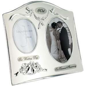 "Two Tone Silverplated Wedding Anniversary Gift Photo Frame - ""60th Diamond Anniversary"""