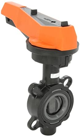 GF Piping Systems PVC Butterfly Valve, Hand Lever with Ratchet Settings, EPDM Seal
