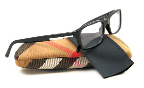 Burberry BE 2077 Eyeglasses, Shiny Black Frame w/Non Rx 53 mm Diameter Lenses, BE2077-3001-5317