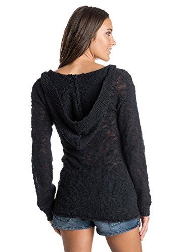 Roxy Juniors Warm Heart V-Neck Hooded Sweater, True Black, Medium
