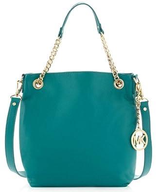 Michael Kors Aqua Leather Jet Set MD Chain Tote Shoulder Bag Handbag Purse