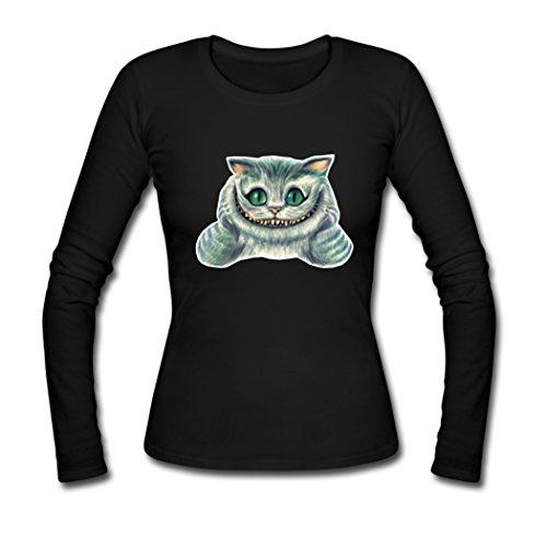 AHHACHI Women Alice In Wonderland Cheshire Cat Black Long Sleeve T-shirt Tee Shirts Small (Cat On Alice And Wonderland)