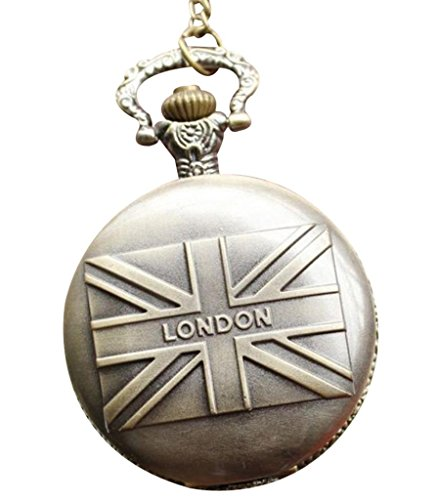 Infinite U Vintage British Flag Big Quartz Pocket Watch Arabic Numerals Bronze front-778922