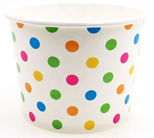 8 oz Paper Hot/Cold Ice Cream Cups - 100ct (Polka Dot) (Party Ice Cream Cups compare prices)