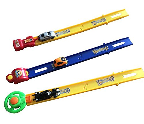 Dazzling Toys Track Racer Racing Car Toy Set - Set Includes: 3 Speed Car Pushers, 6 Piece Track, 3 Racer Cars