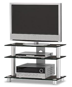 "Just-Rack TV 8553 Aluminium-Schwarzglas Universalmöbel fur Flachbildschirme, TV - und Audio Geräte"""