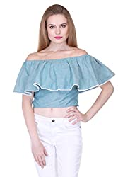 Blue Chambray Off Shoulder Crop Top ZSTRDRESS405-XS