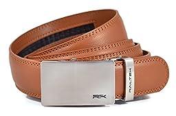 Railtek Belts Men\'s Leather Ratchet Belt - Brushed Steel Light Brown Leather