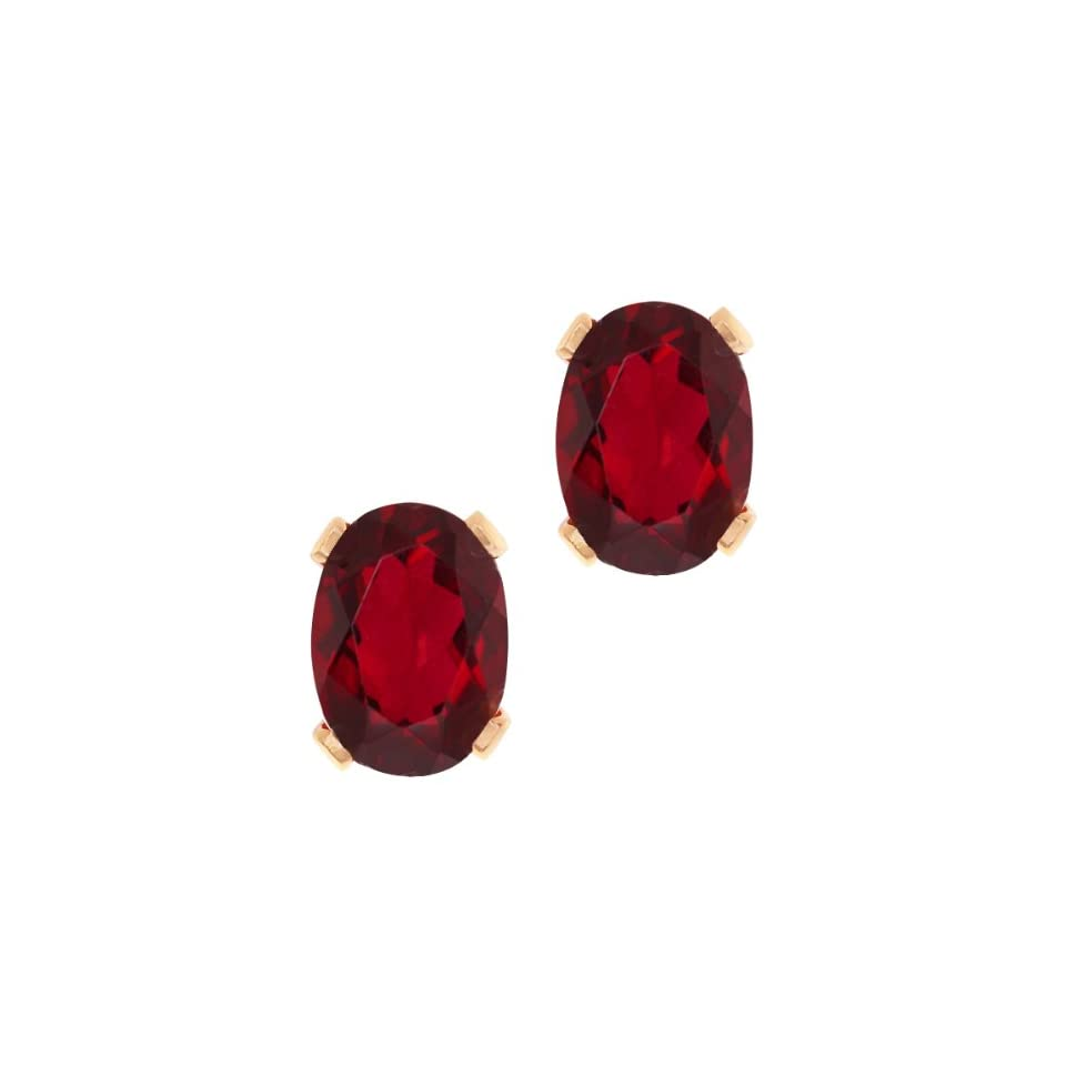 1.90 Ct Oval Shape Ruby Red Mystic Topaz Rose Gold Plated Brass Stud Earrings