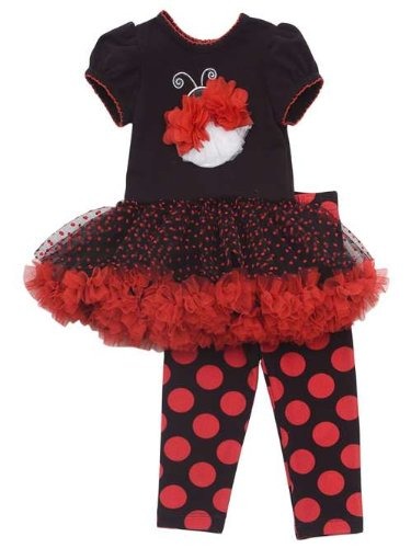 Rare Editions Baby-girls Bug Tutu Dress Outfit Leggings Set