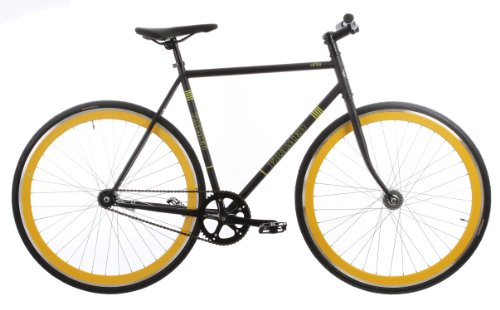 Framed Lifted Flat Bar Bike Single Speed Black/Yellow 56cm