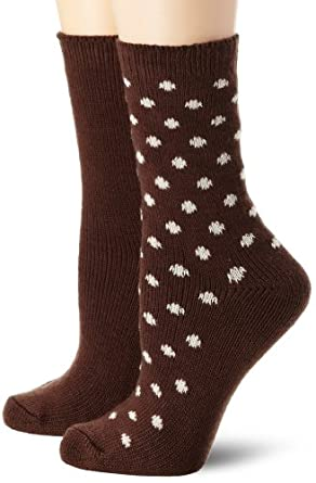Nine West Women's Dot and Solid Flat Knit 2 Pair Boot Pack Socks, Espresso, One Size