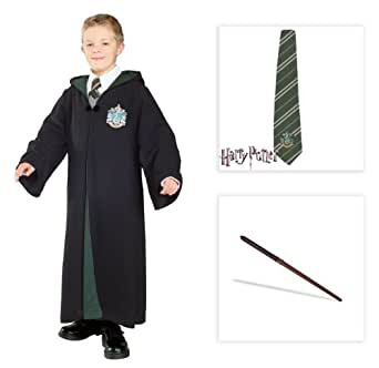 Harry Potter Slytherin Draco Malfoy Kids Costume: Deluxe Robe, Silk Tie, Wand