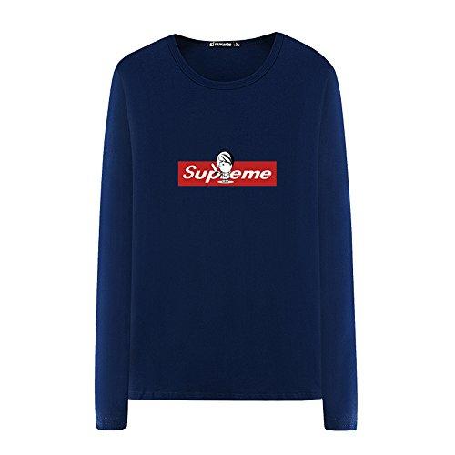 Cotone Ultra Comoda Girocollo a Maniche Lunghe T Men 's - Camicia Stampa Superman (Blu Navy)