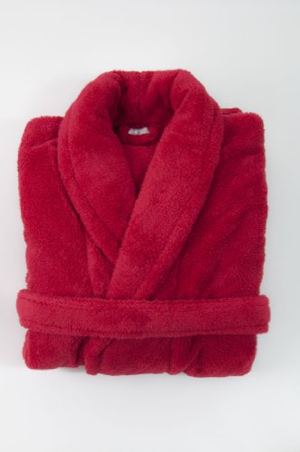 Red Super Soft Unisex Double Pocketed Bathrobe Size: L