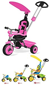 PINK CHILDRENS/GIRLS 3 IN 1 TRIKE WITH CANOPY & SAFETY GUARD