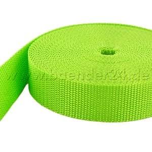 10m PP Gurtband - 20mm breit - 1,4mm stark - limone (UV)