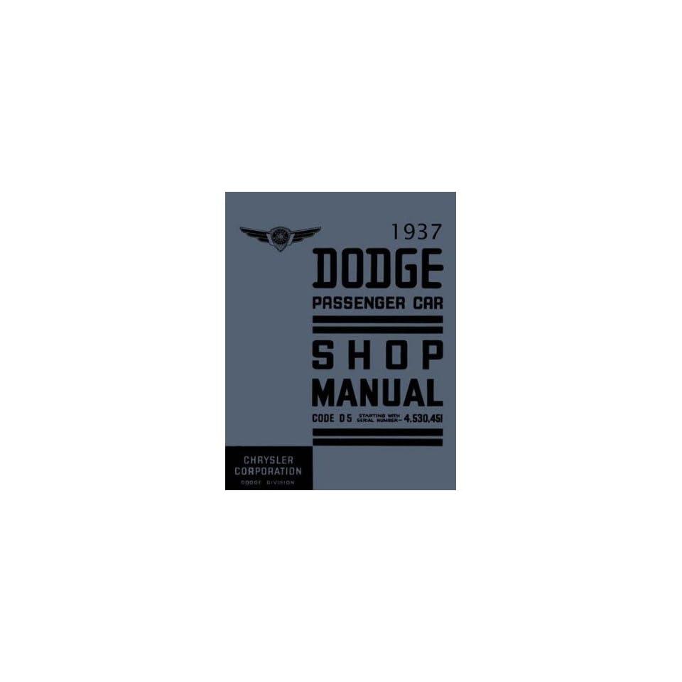 1937 DODGE Shop Service Repair Manual Book Automotive