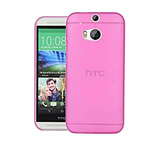 HTC One M8 Google Play Back cover, PP Thinnest Hard Protective Case Back Cover Bumper [ Semi-transparent ] for HTC One (M8) Google Play edition (Pink)