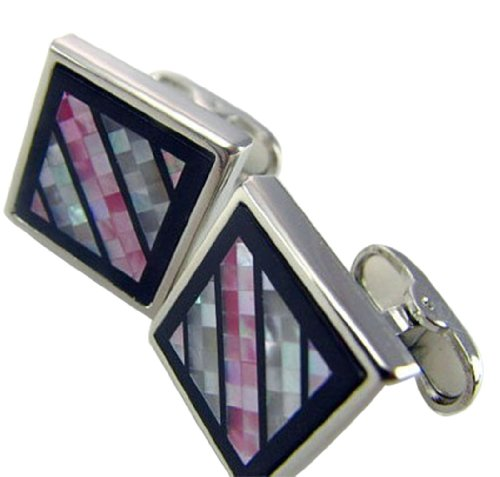 Worldfashion Superior Oblique Diagonal Pink Shells Square Men's Cufflinks Come In a Nice Gift Box by WorldFashion