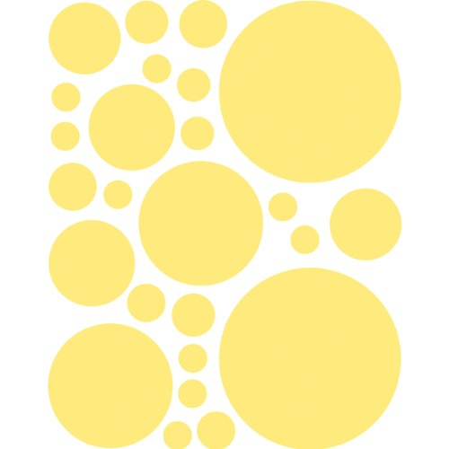 Instant Murals 25 Polka Dot Wall Transfer Stickers - Yellow