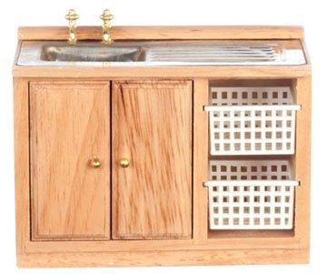 Dollhouse Miniature Laundry Kitchen Sink With Baskets, Oak 1:12 front-1053054