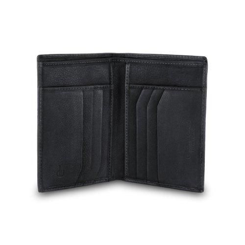 DV Portafoglio a libro da uomo di pelle porta carte di credito Nero