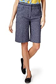 Per Una Linen Blend Striped Shorts