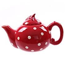 Ceramic Polka Dot Red & White Teapot