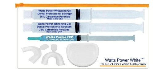 Watts Power Pro Optimized Double 35% Gel Teeth Whitening Kit with NEW Enamel Gel & Trays - 2 Gels