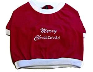 Merry Christmas Red Dog Pet Tshirt Red, Size Large from Pet Fashions