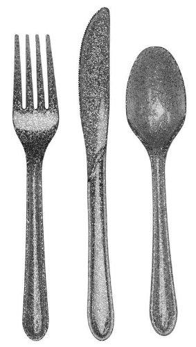 Creative Converting Premium Plastic Glitz Silver Glitter Cutlery, 24 Utensils Per Package