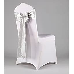 WCAN 50 pieces 6 x 108 Inch ( 17 x 275cm ) Silver Satin Chair Sash Ribbon Bows for Wedding Party Chair Decoration