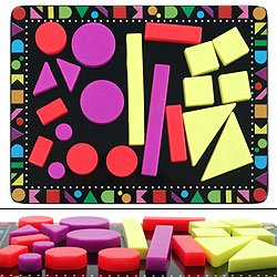 22 Piece Colorful Geometric Shaped Magnet Set with Board. Product Category: Toys & Games > Table Games