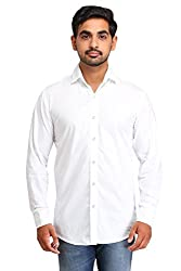 Snoby white plain paper cotton shirt SBY8080