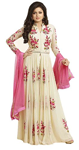 Clickedia-Womens-Gerogette-Cream-Pink-Flower-Embroidered-Center-Cut-Anarkali-Dress-Material-Blue-Free-Size