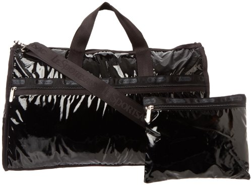 LeSportsac Large Weekender Handbag,Black Patent,one size
