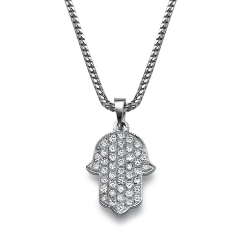 18k White Gold Diamond Hamsa Pave Necklace