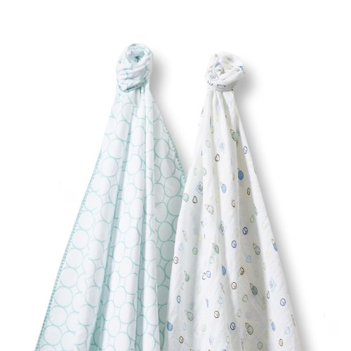 SwaddleDesigns SwaddleDuo, Mod Peace Love Duo (Set of 2 in SeaCrystal)