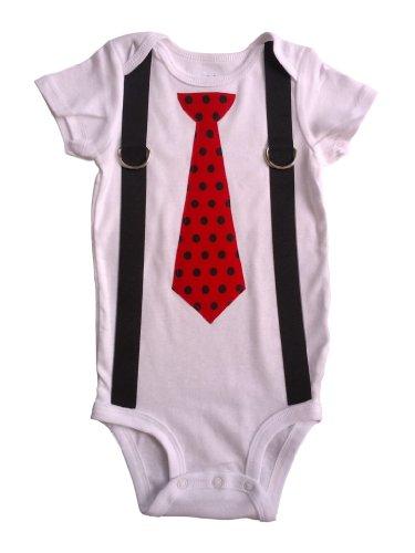 TheTwinShop Baby Boys' Ladybug Tie Onesie NB